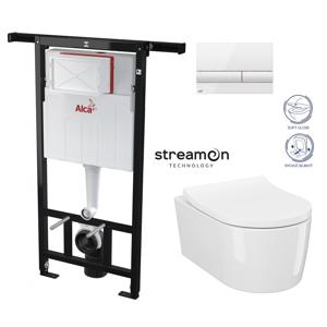 ALCAPLAST Jádromodul předstěnový instalační systém s bílým tlačítkem M1710 + WC CERSANIT INVERTO + SEDÁTKO DURAPLAST SOFT-CLOSE AM102/1120 M1710 IN1