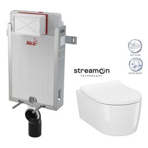 AKCE/SET/ALCAPLAST SET Renovmodul předstěnový instalační systém bez tlačítka + WC INVERTO se systémem STREAM ON + SEDATKO SLIM SOFT CLOSE AM115/1000 X IN1