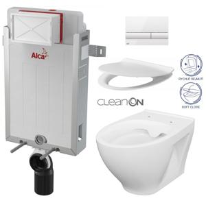 AKCE/SET/ALCAPLAST SET Renovmodul předstěnový instalační systém + tlačítko M1710 + WC CERSANIT CLEANON MODUO + SEDÁTKO AM115/1000 M1710 MO1