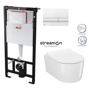 AKCE/SET/ALCAPLAST SET Sádromodul předstěnový instalační systém s bílým tlačítkem M1710 + WC INVERTO se systémem STREAM ON + SEDATKO SLIM SOFT CLOSE AM101/1120 M1710 IN1