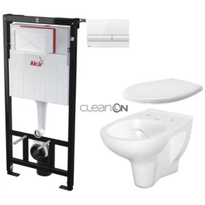 AKCE/SET/ALCAPLAST SET Sádromodul předstěnový instalační systém + tlačítko M1710 + WC CERSANIT ARTECO CLEANON + SEDÁTKO AM101/1120 M1710 AT2