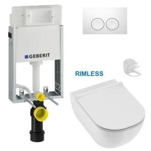 AKCE/SET/GEBERIT SET KOMBIFIXBasic včetně bílého ovládacího tlačítka DELTA 21 + JIKA Mio WC, Rimless + Mio WC sedátko Slowclose SLIM 110.100.00.1 21BI IO2