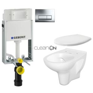 AKCE/SET/GEBERIT SET KOMBIFIXBasic včetně ovládacího tlačítka DELTA 51 CR pro závěsné WC CERSANIT ARTECO CLEANON + SEDÁTKO 110.100.00.1 51CR AT2