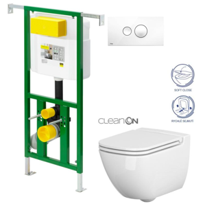AKCE/SET/VIEGA Eko PLUS modul do jádra WC čelní ovládání SET + ovládací tlačítko BÍLÉ + WC CERSANIT CASPI CLEANON + SEDÁTKO V622176BI CP1