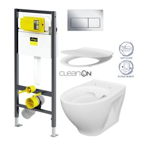 VIEGA Presvista modul DRY pro WC včetně tlačítka Life5 CHROM + WC CERSANIT CLEANON MODUO + SEDÁTKO V771973 LIFE5CR MO1