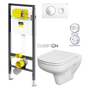 AKCE/SET/VIEGA Presvista modul DRY pro WC včetně tlačítka Style 20 bílá + WC CERSANIT CLEANON COLOUR + SEDÁTKO V771973 STYLE20BI CN1