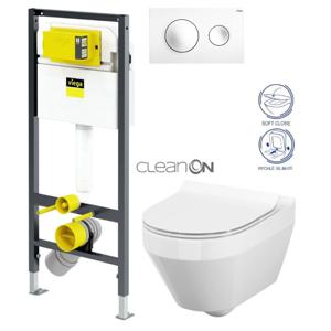 AKCE/SET/VIEGA Presvista modul DRY pro WC včetně tlačítka Style 20 bílá + WC CERSANIT CLEANON CREA OVÁL + SEDÁTKO V771973 STYLE20BI CR1