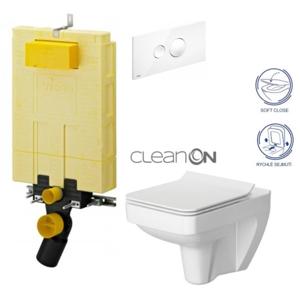 AKCE/SET/VIEGA SET MONO modul WC čelní ovládání + ovládací tlačítko BÍLÉ + WC CERSANIT SPLENDOUR CLEANON + SEDÁTKO V606732BI SP1
