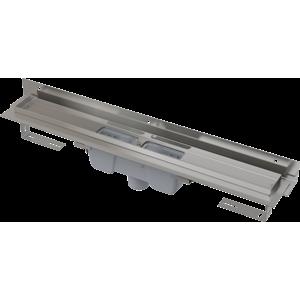 Alcaplast Flexible – Podlahový žlab s okrajem pro perforovaný rošt a ke stěně, svislý odtok APZ1004-550 APZ1004-550