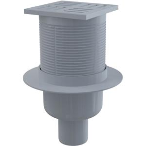 Alcaplast podlahová vpust 105 × 105/50 přímá, mřížka šedá, vodní zápachová uzávěra APV6111