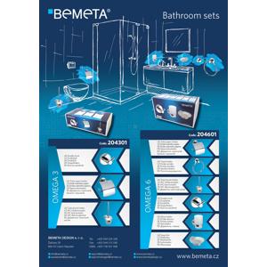 Bemeta Omega 6 chrrom set držák toaletního papíru, držák ručníku, WC štětka, dvojháček, držák sklenice a mýdlenka 204601OMEGA6