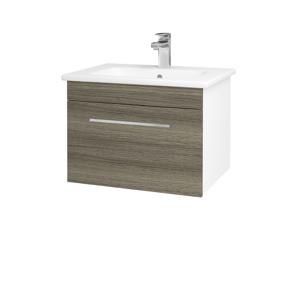 Dřevojas Koupelnová skříň ASTON SZZ 60 N01 Bílá lesk / Úchytka T04 / D03 Cafe 130909E