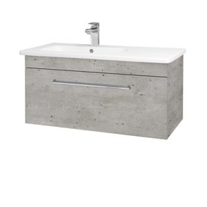 Dřevojas Koupelnová skříň ASTON SZZ 90 N01 Bílá lesk / Úchytka T04 / D06 Ořech 199685E