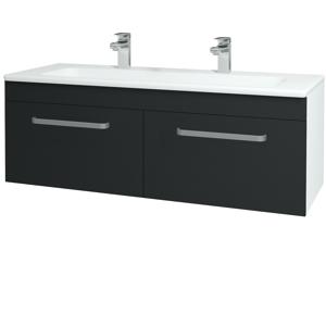 Dřevojas Koupelnová skříň ASTON SZZ2 120 N01 Bílá lesk / Úchytka T01 / L03 Antracit vysoký lesk 131616AU