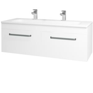 Dřevojas Koupelnová skříň ASTON SZZ2 120 N01 Bílá lesk / Úchytka T01 / M01 Bílá mat 200282AU