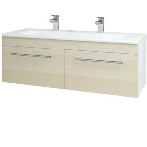 Dřevojas Koupelnová skříň ASTON SZZ2 120 N01 Bílá lesk / Úchytka T02 / D02 Bříza 131173BU