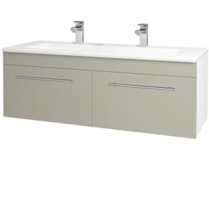 Dřevojas Koupelnová skříň ASTON SZZ2 120 N01 Bílá lesk / Úchytka T02 / M05 Béžová mat 200299BU