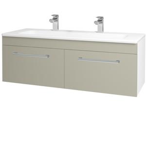 Dřevojas Koupelnová skříň ASTON SZZ2 120 N01 Bílá lesk / Úchytka T03 / M05 Béžová mat 200299CU