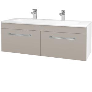 Dřevojas Koupelnová skříň ASTON SZZ2 120 N01 Bílá lesk / Úchytka T03 / N07 Stone 200336CU