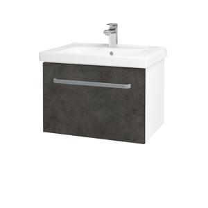 Dřevojas Koupelnová skříň BIG INN SZZ 65 N01 Bílá lesk / Úchytka T01 / D16 Beton tmavý 201098A