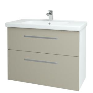 Dřevojas Koupelnová skříň BIG INN SZZ2 100 N01 Bílá lesk / Úchytka T01 / L04 Béžová vysoký lesk 122270A