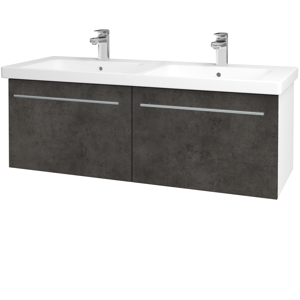 Dřevojas Koupelnová skříň BIG INN SZZ2 125 N01 Bílá lesk / Úchytka T02 / D16 Beton tmavý 201586B