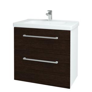 Dřevojas Koupelnová skříň BIG INN SZZ2 80 N01 Bílá lesk / Úchytka T03 / D08 Wenge 132927C