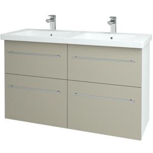 Dřevojas Koupelnová skříň BIG INN SZZ4 125 N01 Bílá lesk / Úchytka T02 / L04 Béžová vysoký lesk 122584B