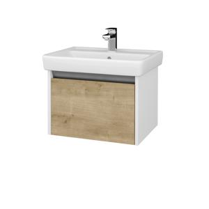 Dřevojas Koupelnová skříň BONO SZZ 60 (umyvadlo Q) N01 Bílá lesk / D09 Arlington 203207