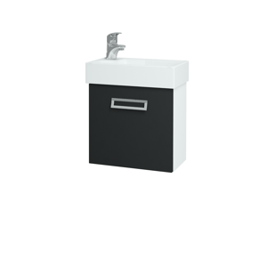Dřevojas Koupelnová skříň DOOR SZD 44 N01 Bílá lesk / L03 Antracit vysoký lesk / Pravé 122768P
