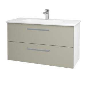 Dřevojas Koupelnová skříň GIO SZZ2 100 N01 Bílá lesk / Úchytka T01 / M05 Béžová mat 202828A