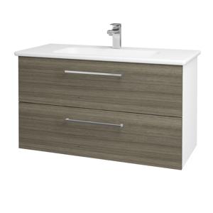 Dřevojas Koupelnová skříň GIO SZZ2 100 N01 Bílá lesk / Úchytka T04 / D03 Cafe 129620E