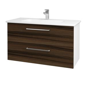 Dřevojas Koupelnová skříň GIO SZZ2 100 N01 Bílá lesk / Úchytka T04 / D06 Ořech 129651E