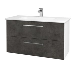 Dřevojas Koupelnová skříň GIO SZZ2 100 N01 Bílá lesk / Úchytka T04 / D16 Beton tmavý 202798E