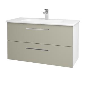 Dřevojas Koupelnová skříň GIO SZZ2 100 N01 Bílá lesk / Úchytka T04 / L04 Béžová vysoký lesk 129729E