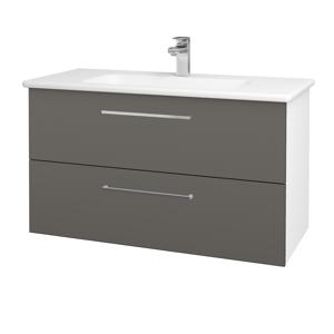 Dřevojas Koupelnová skříň GIO SZZ2 100 N01 Bílá lesk / Úchytka T04 / N06 Lava 202842E