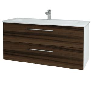Dřevojas Koupelnová skříň GIO SZZ2 120 N01 Bílá lesk / Úchytka T02 / D06 Ořech 129941B