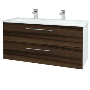 Dřevojas Koupelnová skříň GIO SZZ2 120 N01 Bílá lesk / Úchytka T02 / D06 Ořech 129941BU