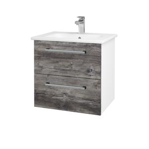 Dřevojas Koupelnová skříň GIO SZZ2 60 N01 Bílá lesk / Úchytka T03 / D10 Borovice Jackson 146245C