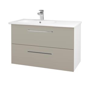 Dřevojas Koupelnová skříň GIO SZZ2 90 N01 Bílá lesk / Úchytka T04 / L04 Béžová vysoký lesk 202644E