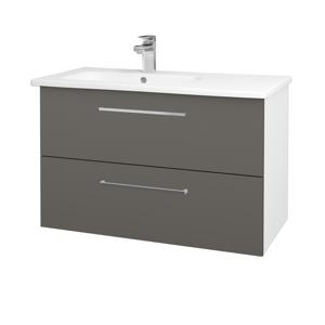 Dřevojas Koupelnová skříň GIO SZZ2 90 N01 Bílá lesk / Úchytka T04 / N06 Lava 202682E