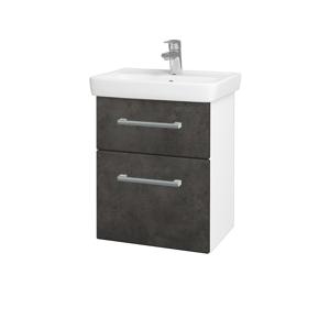 Dřevojas Koupelnová skříň GO SZZ2 50 N01 Bílá lesk / Úchytka T03 / D16 Beton tmavý 204501C