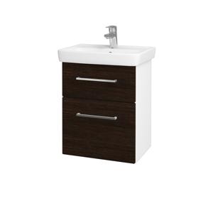 Dřevojas Koupelnová skříň GO SZZ2 50 N01 Bílá lesk / Úchytka T04 / D08 Wenge 28032E