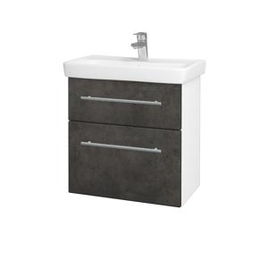 Dřevojas Koupelnová skříň GO SZZ2 60 N01 Bílá lesk / Úchytka T02 / D16 Beton tmavý 204884B