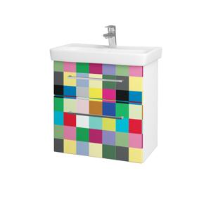 Dřevojas Koupelnová skříň GO SZZ2 60 N01 Bílá lesk / Úchytka T04 / IND Individual 23839E