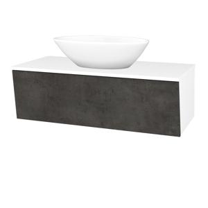 Dřevojas Koupelnová skříň INVENCE SZZ 100 (umyvadlo Triumph) N01 Bílá lesk / D16 Beton tmavý 184018