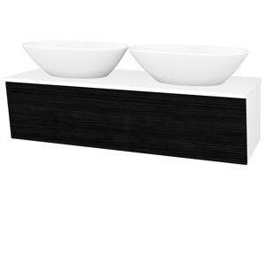 Dřevojas Koupelnová skříň INVENCE SZZ 125 (2 umyvadla Triumph) N01 Bílá lesk / D14 Basalt 186685