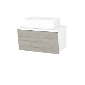 Dřevojas Koupelnová skříň INVENCE SZZ 65 (umyvadlo Joy 2) N01 Bílá lesk / D05 Oregon 177409