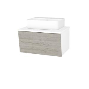 Dřevojas Koupelnová skříň INVENCE SZZ 65 (umyvadlo Joy 3) N01 Bílá lesk / D05 Oregon 177980