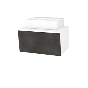 Dřevojas Koupelnová skříň INVENCE SZZ 65 (umyvadlo Joy 3) N01 Bílá lesk / D16 Beton tmavý 178048